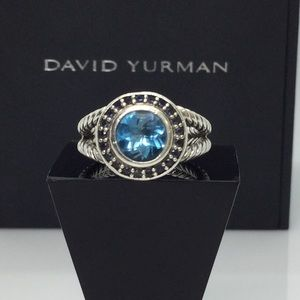 David Yurman Petite Cerise Ring  w/Blue Topaz sz 6